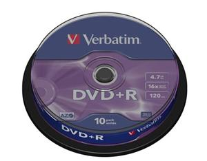 Verbatim DVD+R 4,7GB 16x, AZO, cakebox 10ks 43498