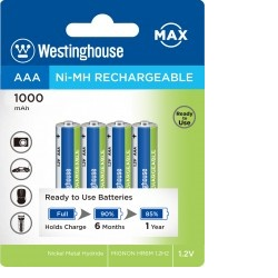 Westinghouse AAA NiMH 1000mAh 1,2V, blistr 4ks