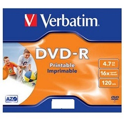 DVD-R Verbatim 4.7GB 16* BOX printable DVD-R