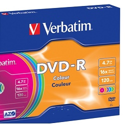 Verbatim DVD-R 4,7GB 16x,AZO, slim colour 1ks