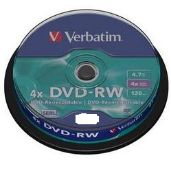 VERBATIM DVD-RW 4,7GB 4x, 10pack spindle
