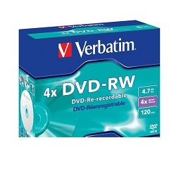 Verbatim DVD-RW 4,7GB 4x jewel 1ks 43285