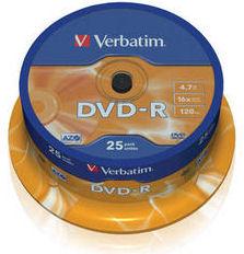 Verbatim DVD-R 4,7GB 16x, 25pack, cake 43522