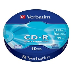 Verbatim CD-R 700MB 52x, bulk box, 10ks (43725)