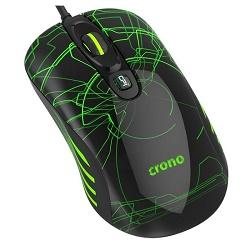 Fotografie CRONO myš OP-636G/ gaming/ drátová/ laser/ 3200 dpi/ LED podsvícení/ USB/ černo