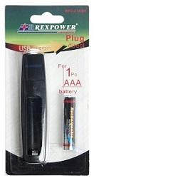 Nabíječka přes USB 1xAAA, + 1x bat. AAA 800mAh