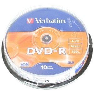 Verbatim 43523 DVD-R 4,7GB 16x AZO cakebox 10ks