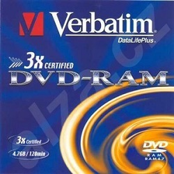 Verbatim DVD-RAM 4,7GB 3x bez cartridge 1ks
