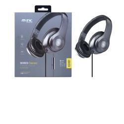 M.TK K3407 Sluchátka s mikrofonem velká, šedá
