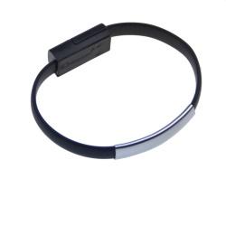 Datový kabel BRACELET microUSB nabíjecí black