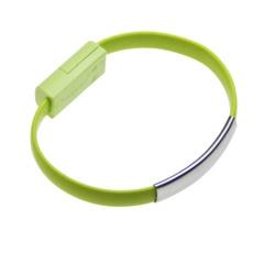 Datový kabel BRACELET microUSB nabíjecí green