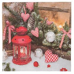KG 938218 Vánoční papírové ubrousky Červená lucer