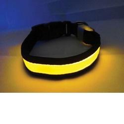 Svítící a blikající obojek velikost S, žlutý