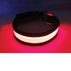 Svítící a blikající obojek velikost S, červený