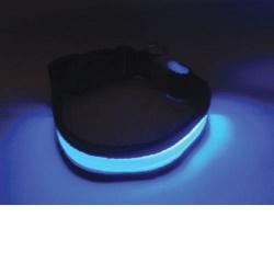 Svítící a blikající obojek velikost S, modrý