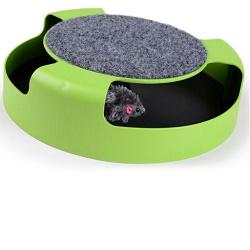 Hračka pro kočky kolotoč s myší a škrábací koberec