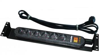 """Panel napájecí,6x230V,19"""",2U přepěťová ochrana"""