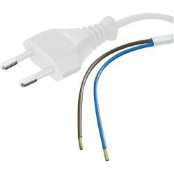 Flexo kabel dvoužilový 230V s vidlicí 3m bílý