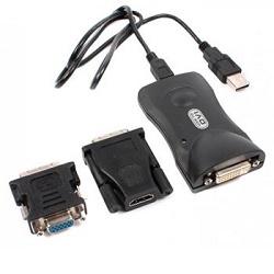 USB 2.0 převodník na DVI + VGA až 6 monitorů HiRes