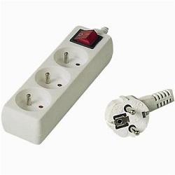 Prodlužovací kabel 2m 3 zásuvky vypínač 10A