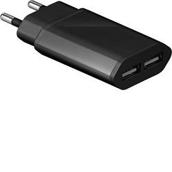 Napájecí adaptér 45689, 230V - 2x USB 5V/2A černý