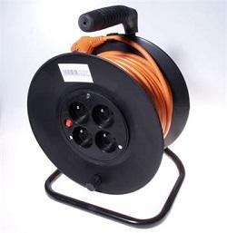 Prodlužovací kabel 230V 25m buben 4 zásuvky 16A