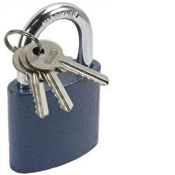 MAGG 32132 Visací zámek 32mm modrý + 4 klíče