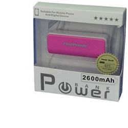 FinePower Power Bank 011 Pink, LED svítilna