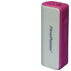 Power Bank 011, 2600mAh Bílo-růžová + LED svítilna